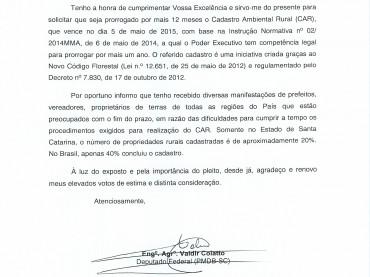 Deputado Colatto protocola pedido de prorrogação do CAR