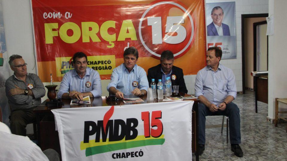 Em coletiva à imprensa líderes do PMDB reforçam candidatura própria em Chapecó
