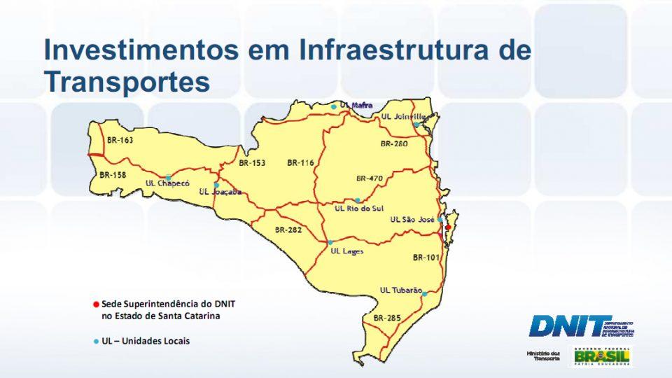 Apresentação do DNIT em agosto mostra Programa de Investimentos em Infraestrutura de Transportes nas BRs 282,  163 e 480